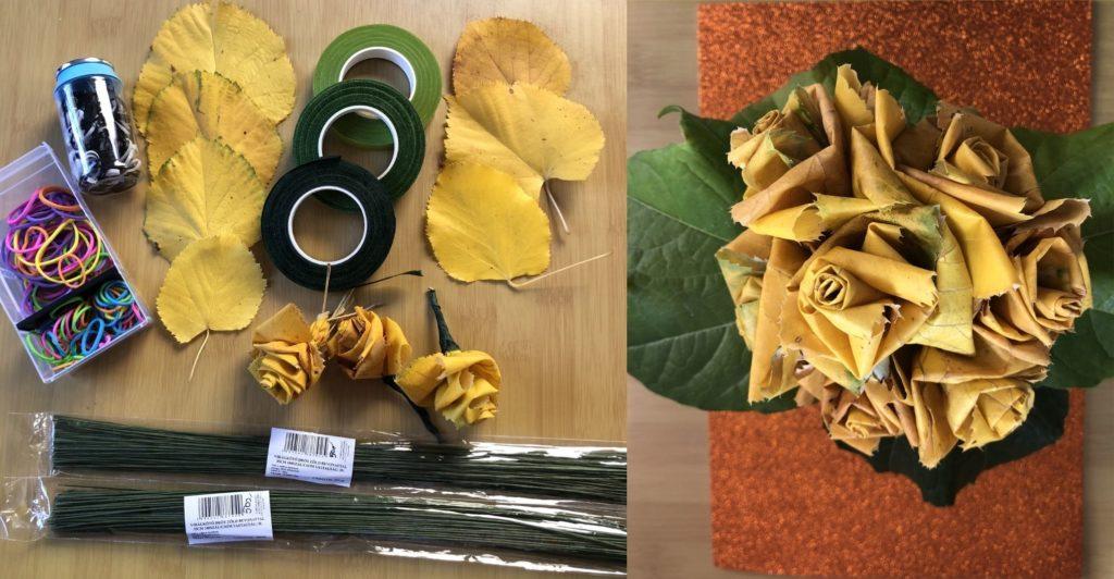 hárslevélből rózsa, alapanyagok, hárslevelek, gumik, zöld drót, zöld szárkötöző, kész kerek csokor