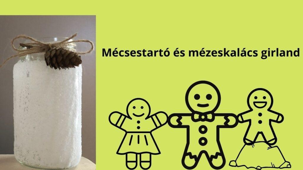 sóval borított havas hatású mécsestartó, mellette kislány, felnőtt és kisfiú mézeskalács emberkék