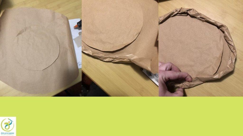 karton pizza, kör alakú karton háztartási csomagolóba csomagolva