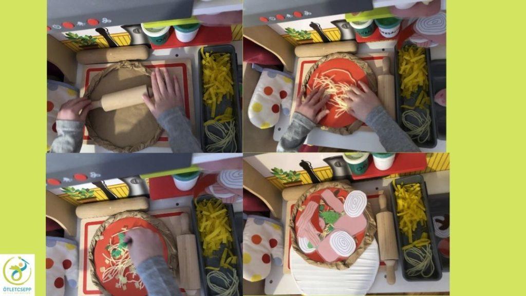 játék pizza készítése, nyújtás, szósz, sajt, feltétek