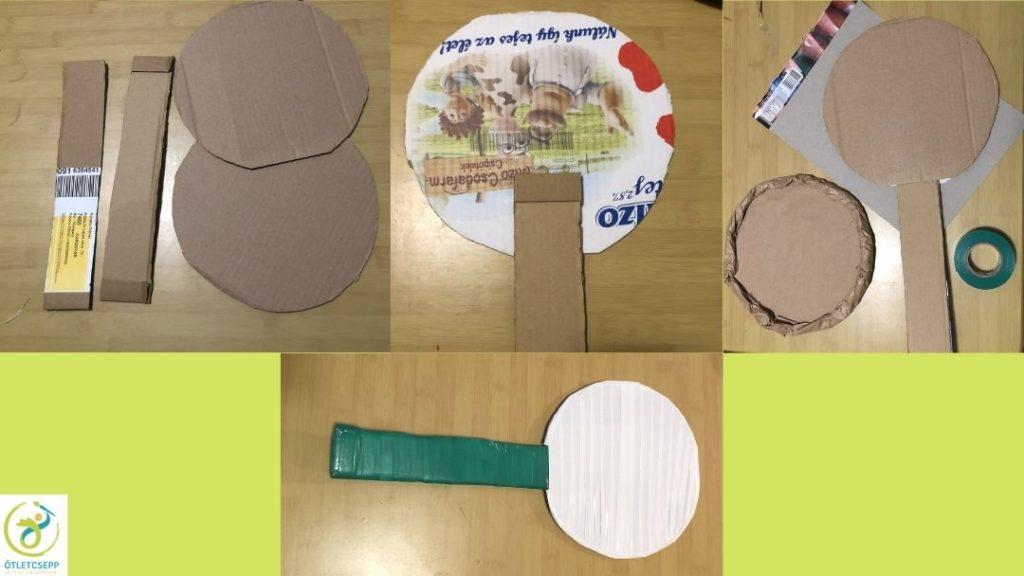 2 karton téglalap és két kör, összeragasztva péklapát, bevonva zöld és fehér ragasztószalaggal