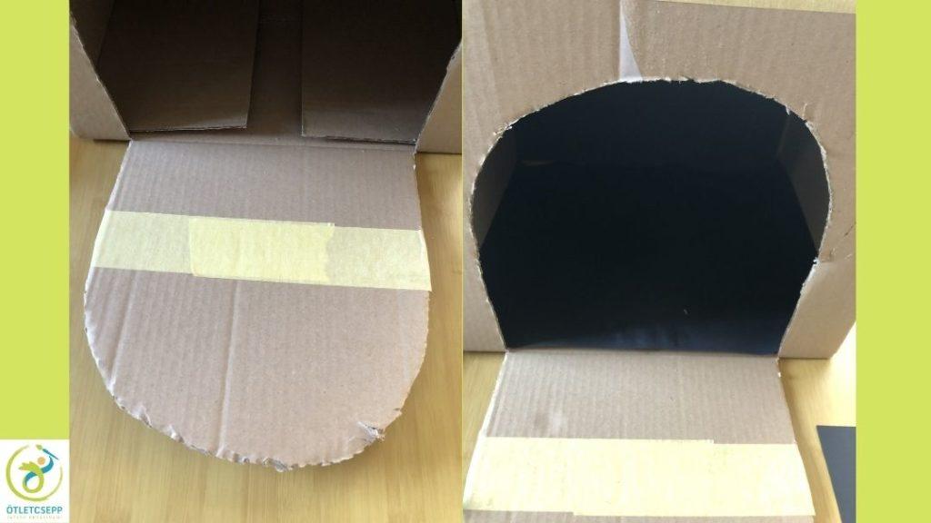 a lenyíló ajtón széles maszkolószalag, következő képen a belsejében fekete karton