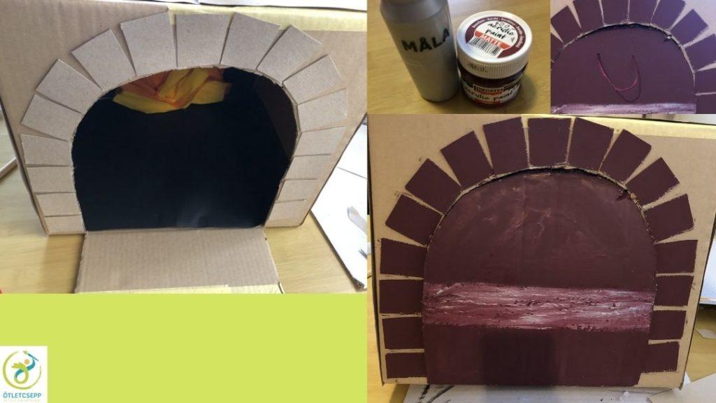 karton pizzasütő ajtaja körül karton téglák, másik képen bordóra festve