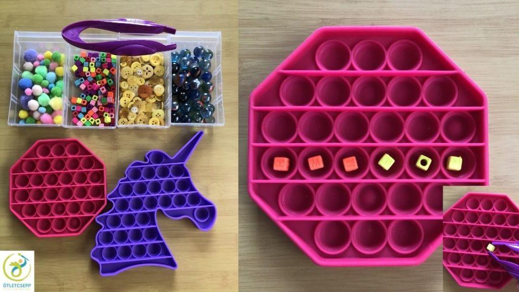 pop bubble formák, mellette apró gyöngyök, golyók, gombok, pomponok, csipesz. Másik képen formába bepakolva 3 narancs és 3 citrom gyöngy