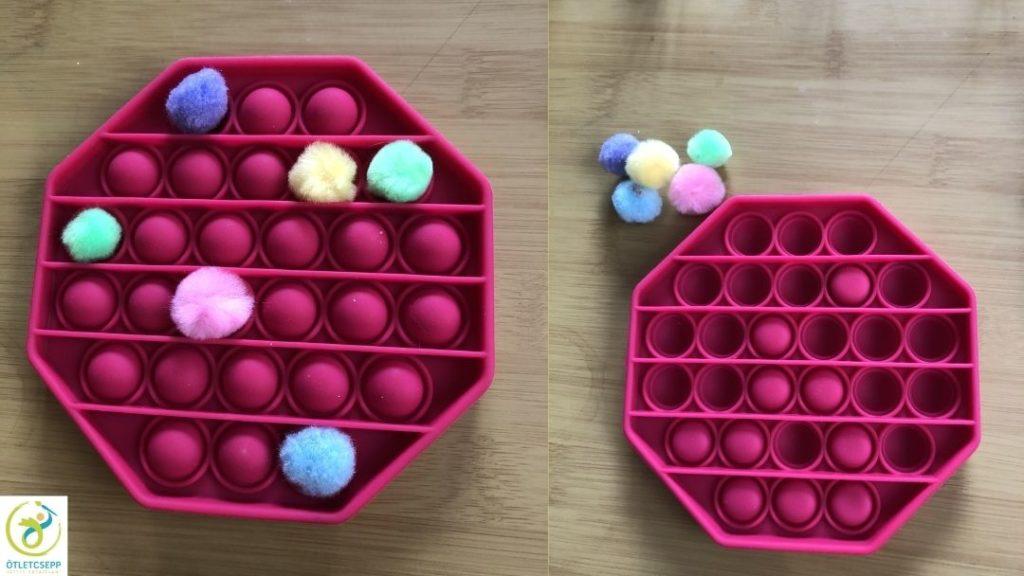 push pop bubble forma, benne néhány helyen pompon, mellette forma átfordítva, néhány buborék fent, többi lenyomva