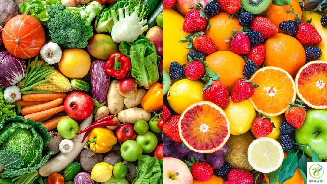bal oldalon vegyesen sokféle zöldség, jobb oldalon sokféle gyümölcs