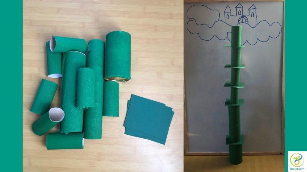 zöld krepp papírral bevont hengerek, mellettük 10x10es zöld kartonból kivágott négyzetek. Másik képen whiteboard táblára rajzolt felhők és kastély, előtte a kész babszár (henger, négyzet, henger, négyzet váltakozva)