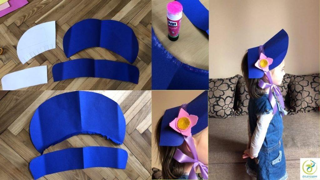 kék kartonból ernyős kalap készítése