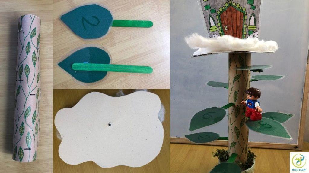 henger bevágásokkal, laminált levél spatulára ragasztva, felhő forma átszúrva, kész baszár levelekkel, felhővel, rajta kastély