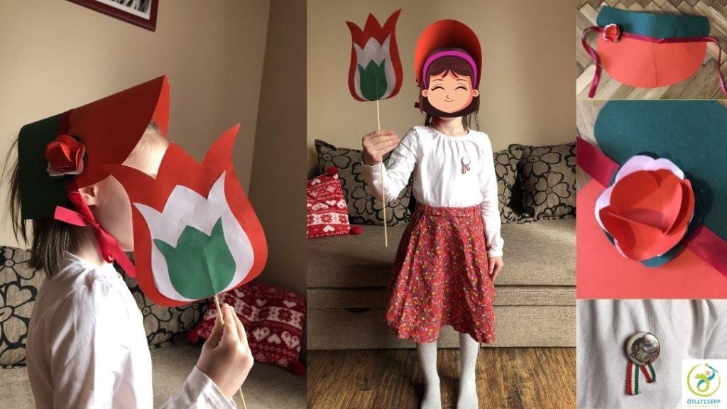 kislány 1848as években divatos ernyős kalapban, kezében nemzeti színű tulipán, mellén kokárda