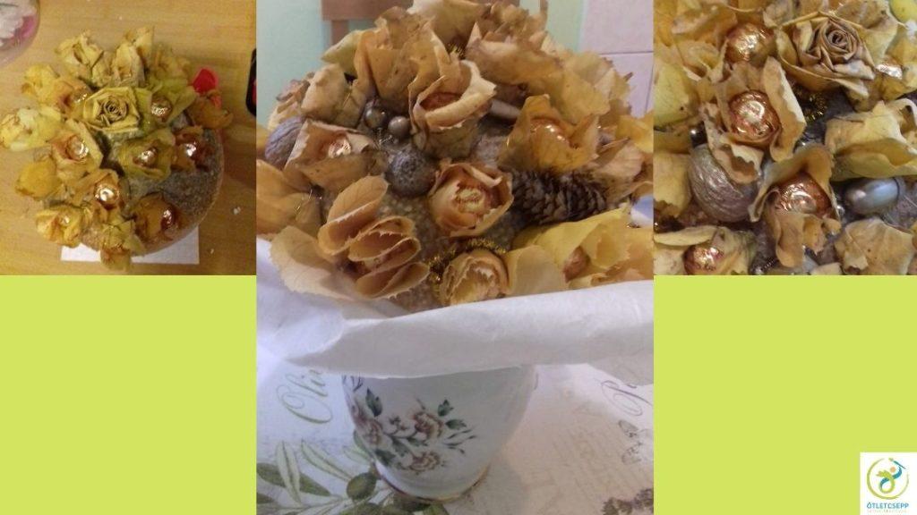 félgömb alakú csokor ferrero rocher bonbonnal, levélrózsákkal, aranyra fújt termésekkel