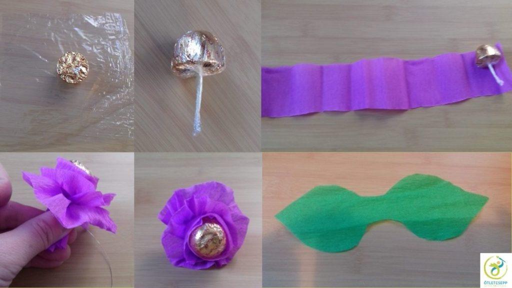 bonbon folpack négyzet közepén, majd betekerve a folpackba, lila krepp csík szélén, feltekerve virág formában. Zöld levél kivágva