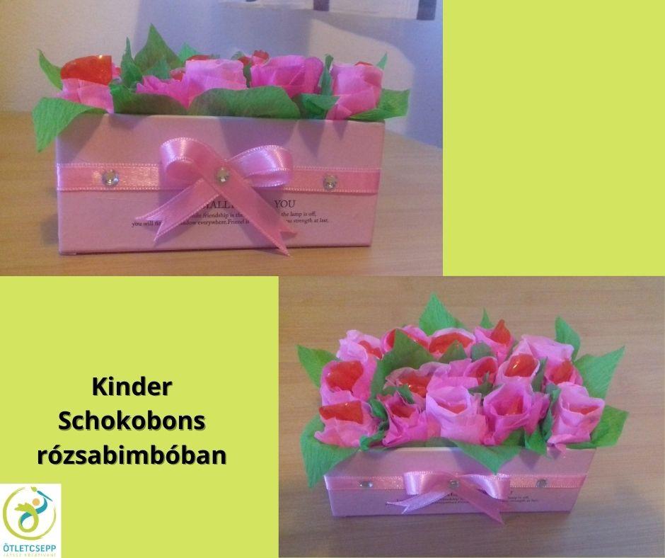 pink rózsabimbók díszdobozban, belsejükben kinder schokobons