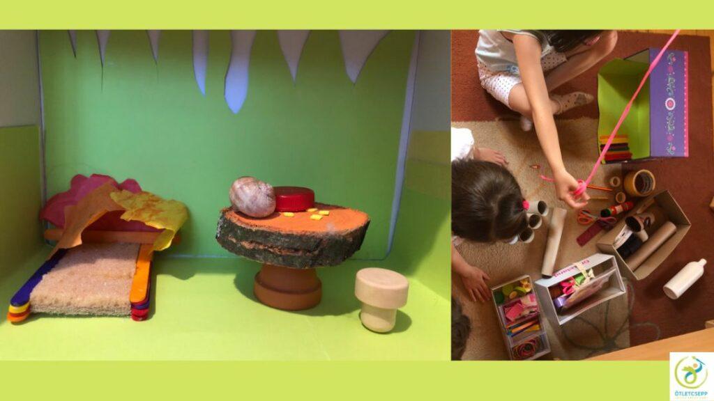 balra tündérlak fa spatulákból épített ággyal, fakorong asztallal, csigaházzal, jobbra gyerekkezek válogatnak az alapanyagok közt