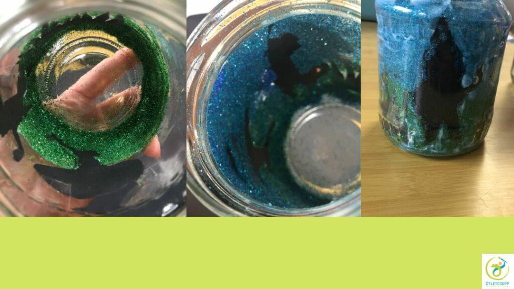 üveg belseje beragasztózva, beszórva zöld majd kék csillámmal