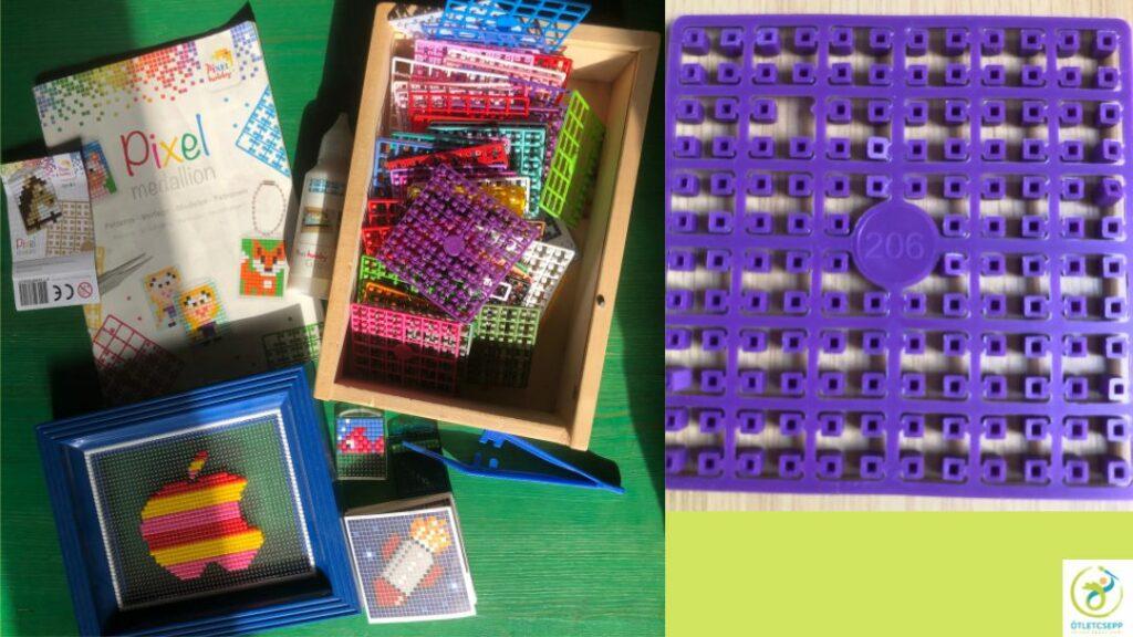 pixelhobby eszközök, kész kép, kulcstartó, mintafüzet. Egy pixellap közelről, rajta a színkóddal