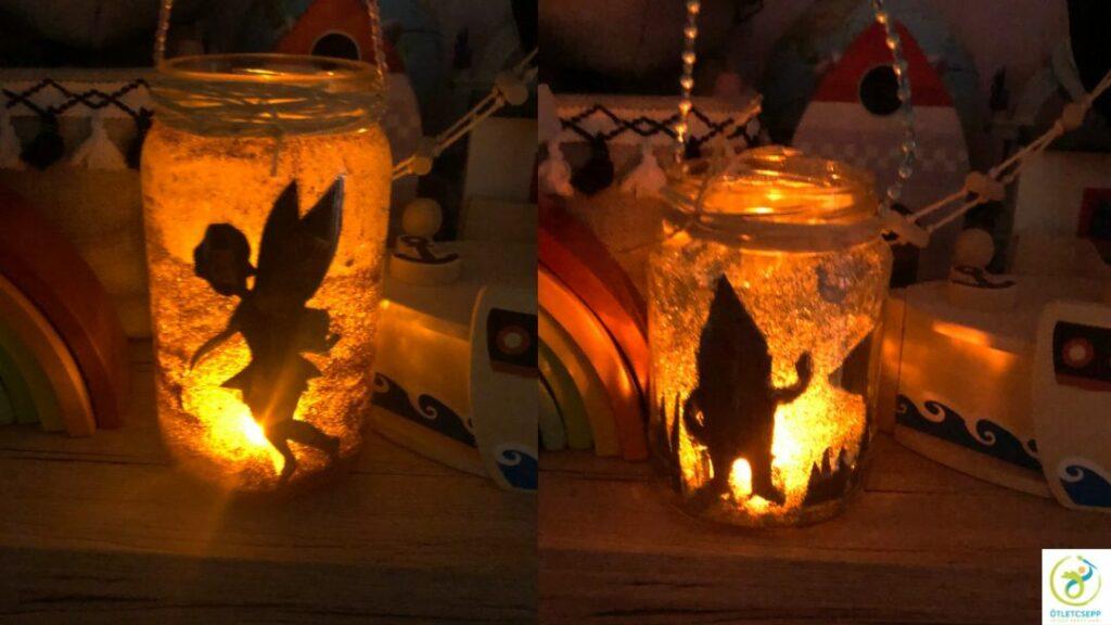 világító lámpások tündér és manó mintával sötétben